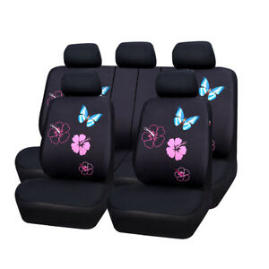 CAR PASS Car Seat Cover Pink Flower Butterfly Universal Fit Split Bench for girl