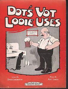 Dot's Vot Looie Uses 1925 Moonshine Sheet Music