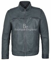 Men's Retro Leather Jacket Grey Soft REAL LEATHER Casual Biker Style 999