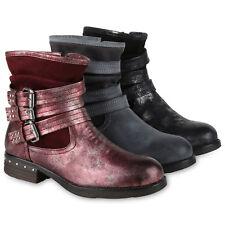 Damen Biker Boots Warm Gefütterte Stiefel Schnallen Stiefeletten 819462 Schuhe