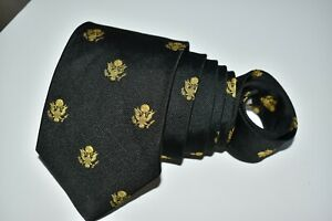 """BEN SILVER MEN'S TIE BLACK, YELLOW/GREAT SEAL OF UNITED STATES W: 3.50"""" L: 57"""""""