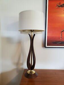 Vtg Danish Mid Century Modern Sculptural Teak/Walnut Wood & Brass Table Lamp