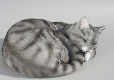 Sleeping Cat Figurine Memorial Statue Beloved Pet Loss Grave Ornament Grey Tabby