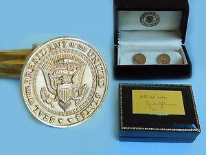 14kt SOLID GOLD Lyndon Johnson LBJ Presidential Seal VIP Cufflinks Original