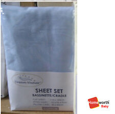 Heavenly Dream Cot Bassinet Cradle Sheet Pillar Case 3 Pcs Pack Set Blue