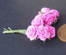 1:12 scala singolo MAZZO (10 fiori) DI CARTA ROSA ROSE DOLLS HOUSE miniatura F