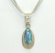 Native American Sterling Silver Opal Pendant Multi Strand Liquid Silver Necklace
