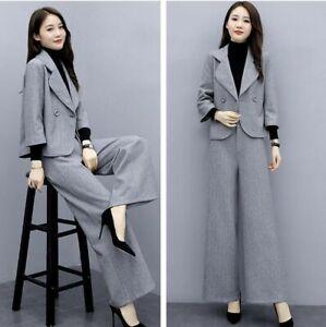 Fashion Womens Office Formal Blazer Top Coat Wide Leg Pants Slim 2Pcs Suit
