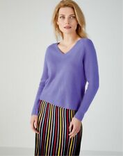 PURE COLLECTION Cashmere Lofty V Neck PURE COLLECT Deep Lavender UK 10 RRP150.00