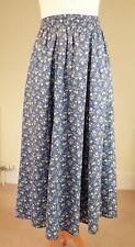 "Vintage Laura Ashley Sz 8/10 Elastic Waist to 26"" 100% Cotton Skirt Blue Floral"