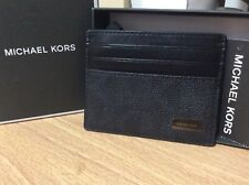 NEW authentic MICHAEL KORS Men's tall Card Case Black leather Mk AUTHENTIC CARD