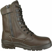 Brown Full Leather Side Zip Army Patrol Combat Boots Tactical Cadet Military