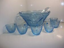 Beautiful blue fruit and vegetable glass punch bowl w/ 6 cups and plastic ladle