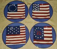 "SAKURA SPIRIT OF THE FLAG WARREN KIMBLE BRANDON HOUSE 4 SALAD PLATES 8 1/4"""