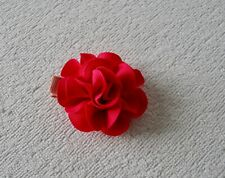 VINTAGE PINK FLOWER HAIR CLIP LINED WITH RIBBON