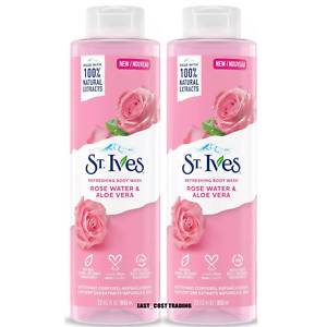 2 PACK ST. IVES ROSE WATER AND ALOE VERA BODY WASH 22 FL OZ