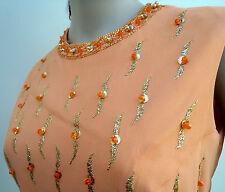 50's 60's Robert Dorland Vintage Evening Dress Peach Gem Neckline Long Ball