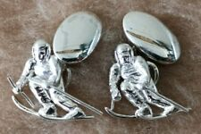 MURRAY-WARD .925 Sterling SILVER SPORTING Skiing CUFFLINKS with BOX VERY GOOD!!!