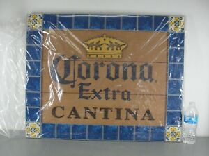 CORONA EXTRA CANTINA 👑 WOOD BEER SIGN FAUX BLUE CERAMIC TILE GOLD CROWN VTG