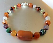 """Agate Stone Bead Threaded 7"""" Bracelet with Silver Magnetic Catch"""
