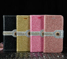 Luxury PU Leather Magnetic Flip Stand Bling Wallet Case For Samsung iPhone phone