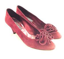 GIVENCHY - VTG Dark Red Burgundy Velvet Suede Rose Floral Low Heel Pumps 8.5 M