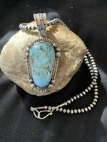 """Navajo Pearls Sterling Silver Blue Turquoise#8 Necklace Pendant Set 1036 3"""" Gift"""