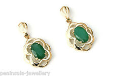 9ct Gold Emerald Drop earrings Celtic Gift Boxed