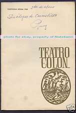 Programme Colon Theater Opera Florence Raynal 1965