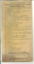 Early Detailed Route from Wash. DC Greensboro NC Through Danville Va. automobile