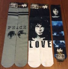 3 Pairs Lot of Jim Morrison and John Lennon Radio Days Socks Sz 10-13