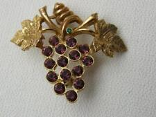 Vintage Victorian Style Goldtone Faux Amethyst Grape Cluster Pin ~ Signed LIA