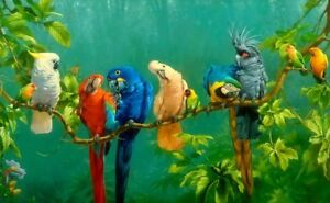 Home Art Wall Decor Parrot Macaw Birds Oil Painting Picture Printed On Canvas