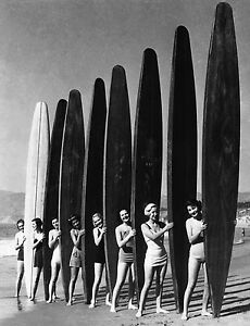 Surf girls Vintage  Art Print Poster  Glass Frame Black White Surfing Boards