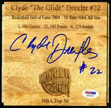 Clyde Drexler SIGNED Floorboard Trailblazers Rockets HOF PSA/DNA AUTOGRAPHED
