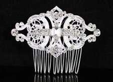 GATSBY CLEAR AUSTRIAN RHINESTONE CRYSTAL HAIR COMB TIARA BRIDAL WEDDING N1809