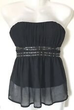 TOKITO Black Strapless Top size 10 NWT Bondage Style Boned Lined Corset Bustier