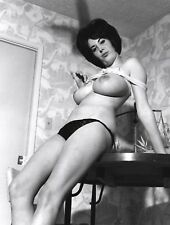 1960s Tall DDs Busty Nude Posing Leaning back against table  8 x 10 Photograph