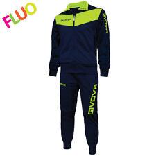 Tuta Training Sport Calcio Basket Volley Running Visa Givova Uomo Donna Bambino XL Blu/giallo Fluo