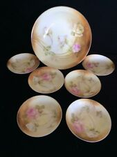 """(7pc) RS Prussia Pink & White Roses Bowl Set 10"""" and 5 1/4"""" circa 1908"""