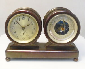 Antique Bronze Chelsea Columbus Ships Clock & Barometer Desk Set ~ Free Ship ~ B