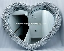Love Heart Wall Mirror Silver Large Antique French Style Shabby Chic 77x67x5cm