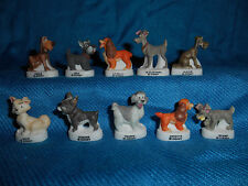 LADY & the TRAMP Set of 10 Matte Figurines French Porcelain FEVES Figures DISNEY