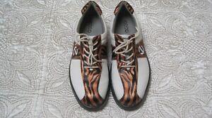 ECCO Women's Spikeless White/Orange & Black Zebra Saddle Golf Shoes Size EU 41