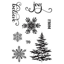 Photo Play Holiday Cheer Christmas Clear Acrylic Stamp Set Tree Snowflake Joy