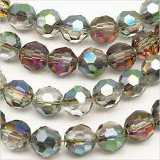 Lot de 20 Perles à FACETTES 8mm en Cristal Gris Irisé