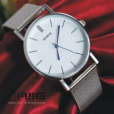 Women Men Casual Luxury Quartz Analog Watch Gold Silver Mesh Wrist Watches Gift