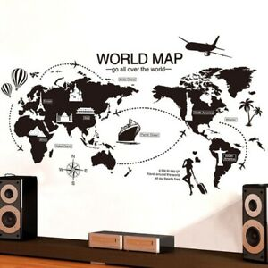 World Map Wall Stickers  Home Decor for Kids Room Travel Airplane Wall Decals