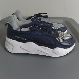 Puma RS-X Youth Kids Size 5 Running Shoes Blue White Athletic Training Sneakers