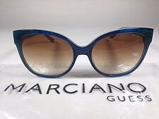 $160 New Authentic Guess By Marciano Cat Eye Sunglasses Blue Snake Brown Fade